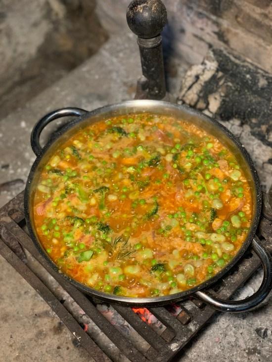 Arroz de Pals con verduras y angula ahumada
