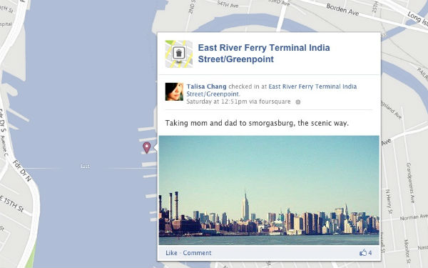 Facebook Timeline Map and Foursquare