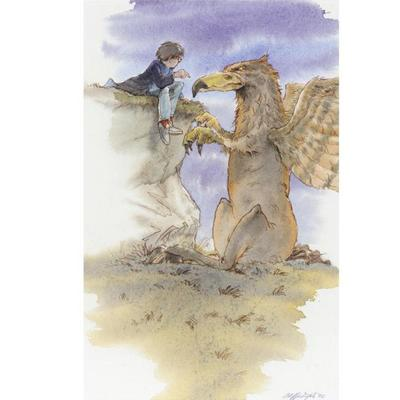 Cliff Wright Dibujo de Harry y Buckbeak