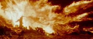 Dumbledore lanza fuego a los Inferi.