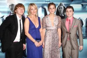 Rupert Grint, JK Rowling, Emma Watson y Daniel Radcliffe