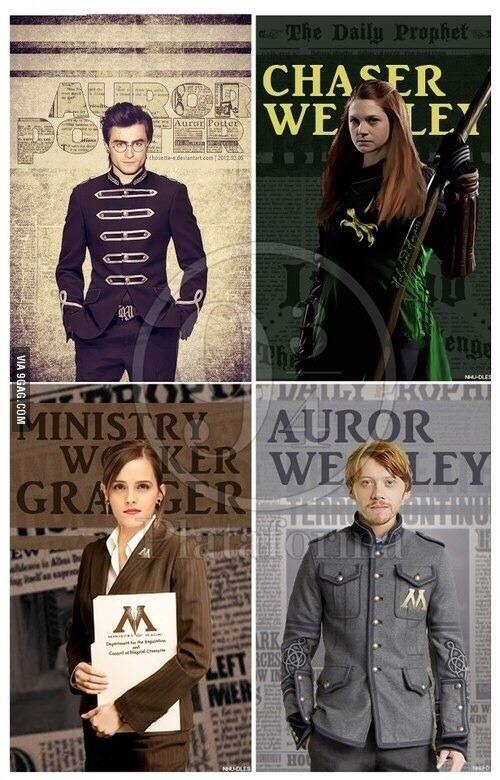 Harry Potter BlogHogwarts Harry Hermione Ron Ginny Adultos