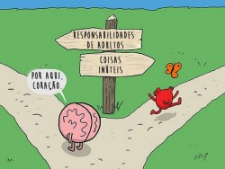 Quadrinhos divertidos mostram os dilemas entre a razão e o coração