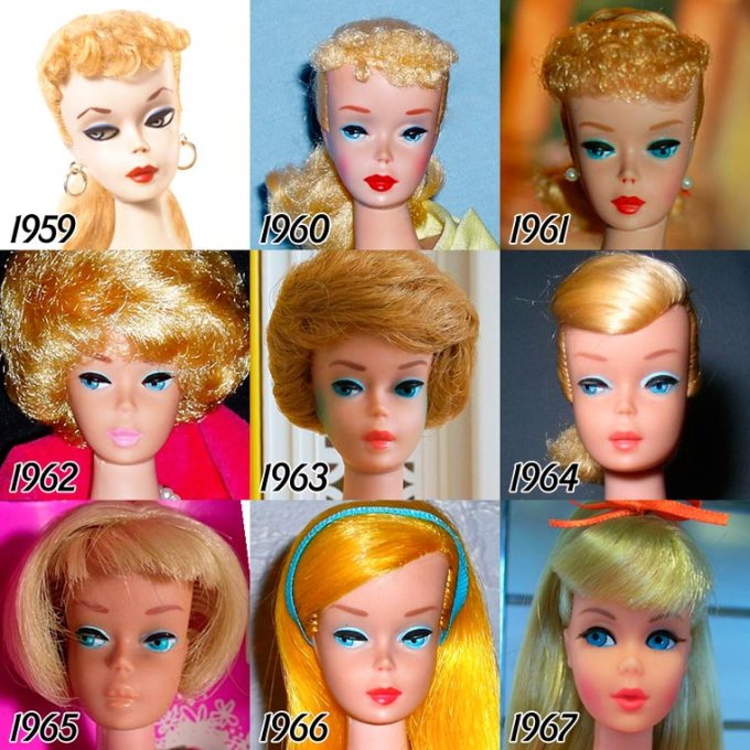 A evolução da Barbie entre 1959 e 2015