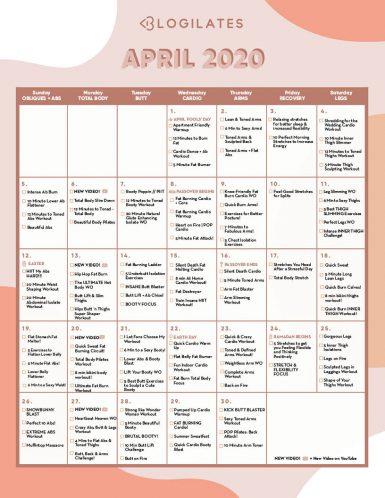 Blogilates april 2020 workout calendar small