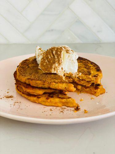 blogilates easy healthy recipe sweet potato pancake stack with greek yogurt and cinnamon