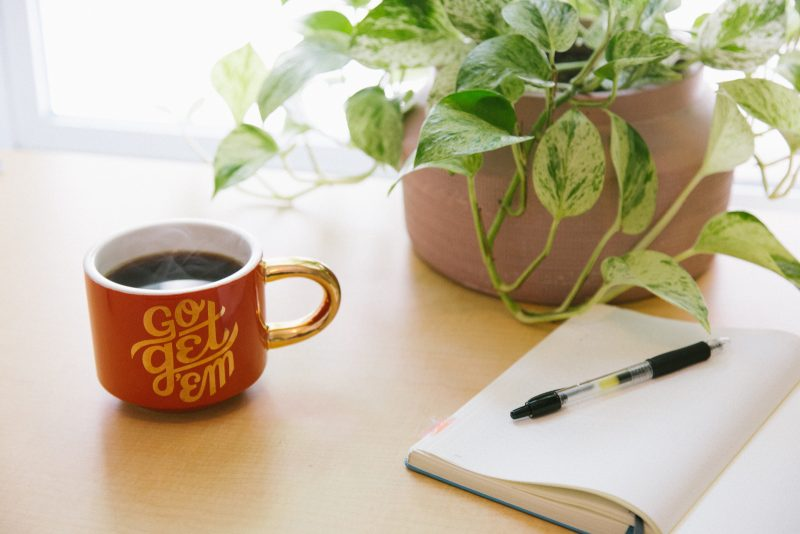red mug sitting on desk with plant and journal