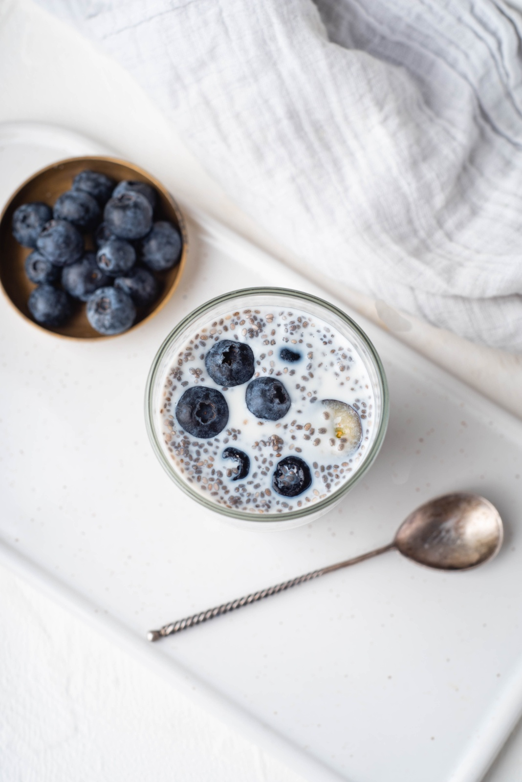 top view blueberry chia pudding with spoon top 10 breakfast recipes