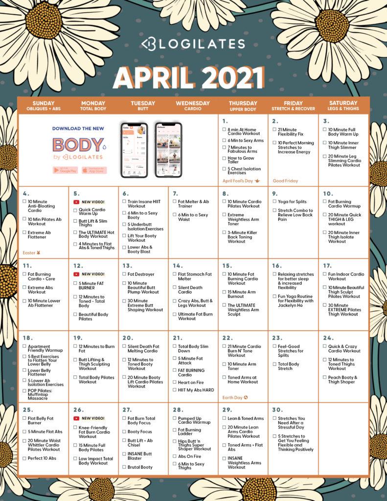 April 2021 Workout Calendar Blogilates
