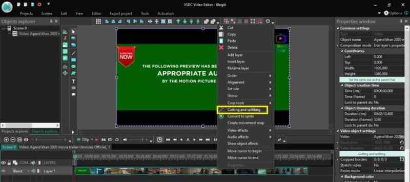 Cutting VSDC video