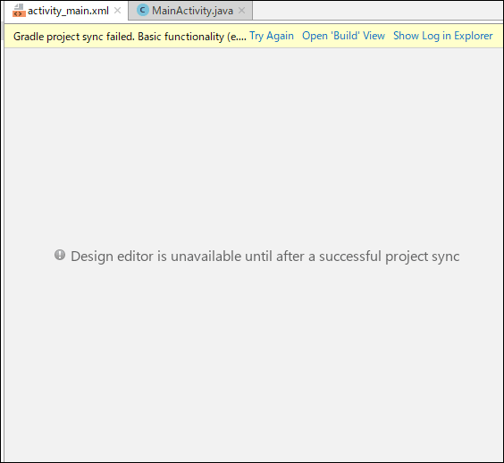 Android Studio「Design editor is unavailable until after ...