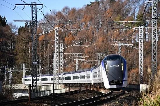 11月30日撮影 立場川鉄橋にてE353系「あずさ」より - 気ままに撮り鉄