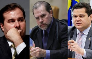 Presidente da República, Jair Bolsonaro, com Dias Toffoli, Presidente do Supremo Tribunal Federal; Davi Alcolumbre, Presidente do Senado Federal; Rodrigo Maia, Presidente da Câmara