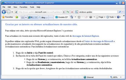 Internet Explorer 8 impide actualizar con Windows Update
