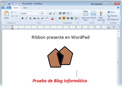 Ribbon en WordPad