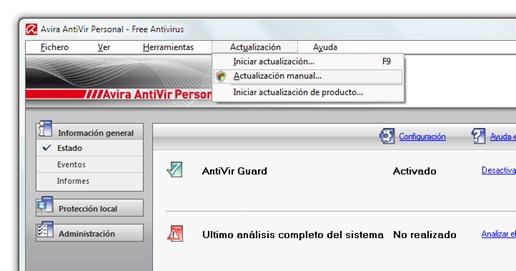 Avira AntiVir - Actualización manual - Seleccionar opción