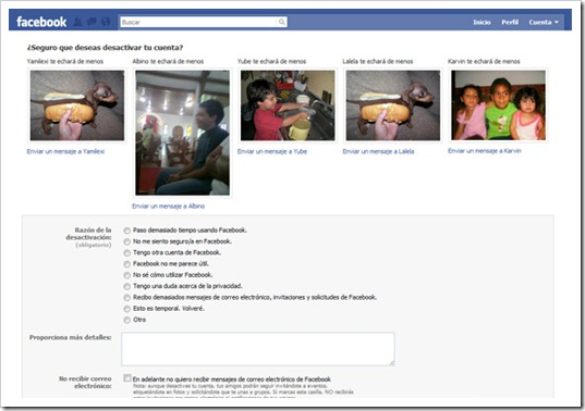 Desactivar cuenta del Facebook