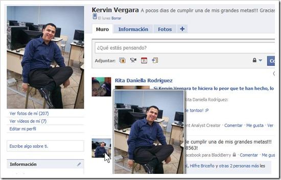 Facebook y Hover Zoom