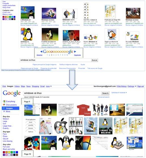 Paginación en Google Imágenes
