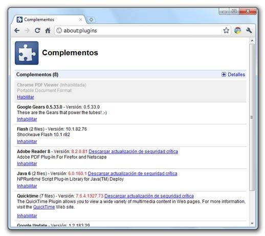 Complementos de Google Chrome
