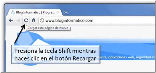 Google Chrome - Shift   F5, Borrar caché