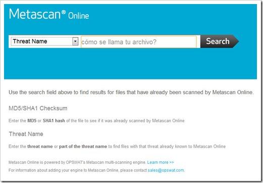 Buscar archivos online Metascan