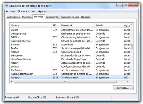 Servicio Windows Search - SearchIndexer.exe