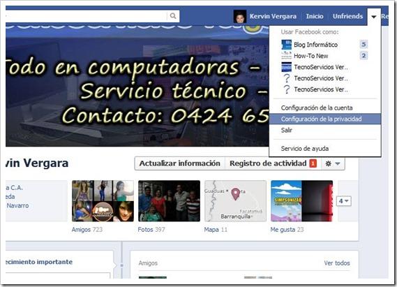 Configuración de privacidad del Facebook
