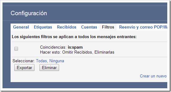 Configurar filtros