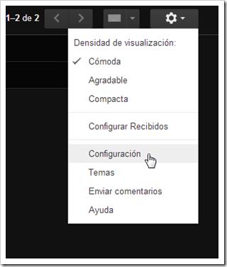 Configuración de Gmail.