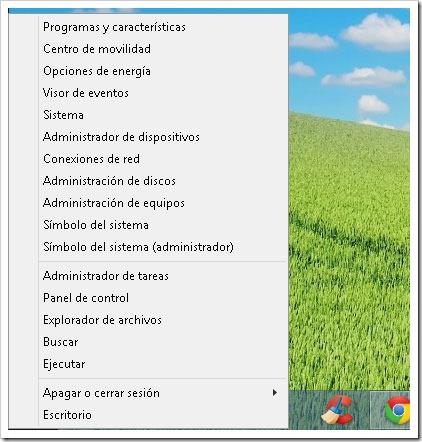 Menú de inicio escondido en Windows 8