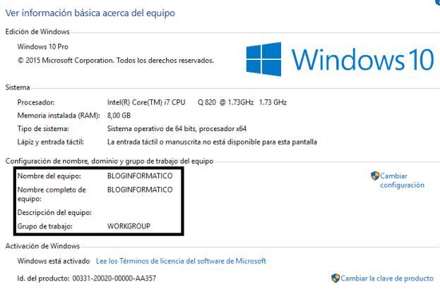 Propiedades del sistema de Windows 10 - 2