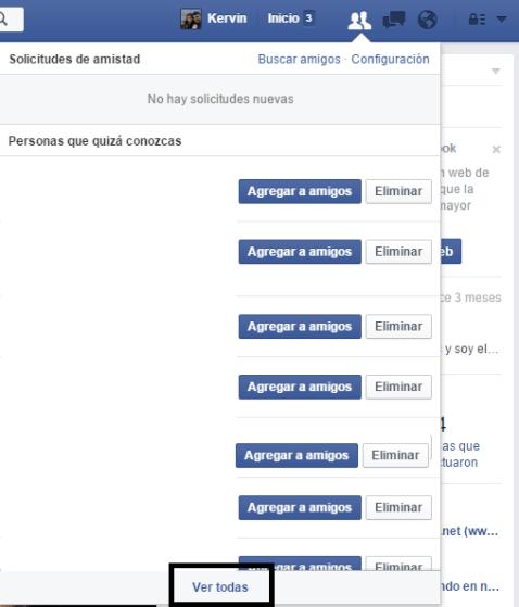 Solicitudes de amistad en Facebook