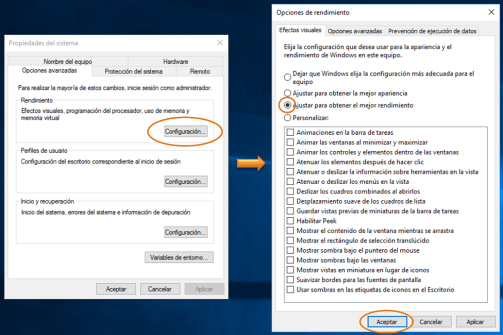 Deshabilitar efectos visuales en Windows 10