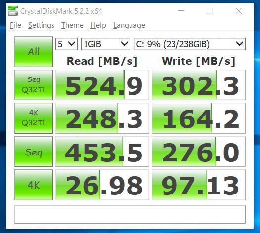 CrystalDiskMark test SSD
