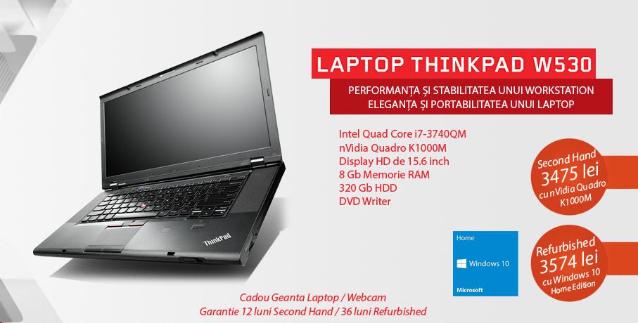 Laptop second hand Lenovo ThinkPad W530, Quad Core i7-3740QM Gen 3, oferit de Diablos Computer cu garantie 12 luni si transport gratuit oriunde in tara!