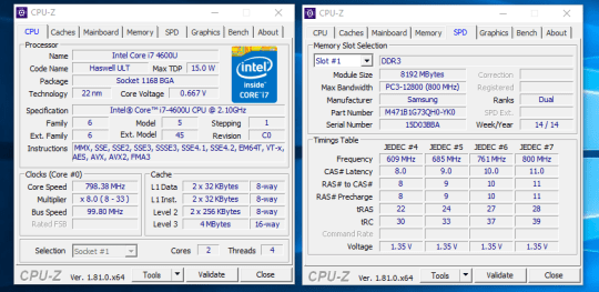 HP EliteBook Revolve 810 G1 - CPU-Z