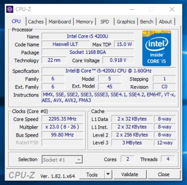Dell Latitude E7240 - CPU-Z