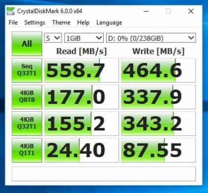 Teste viteza SSD KingSpec P3-256