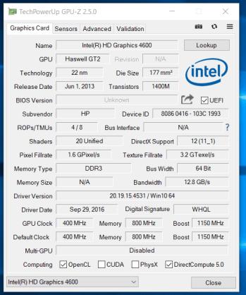 HP Probook 650 G1 - GPU-Z