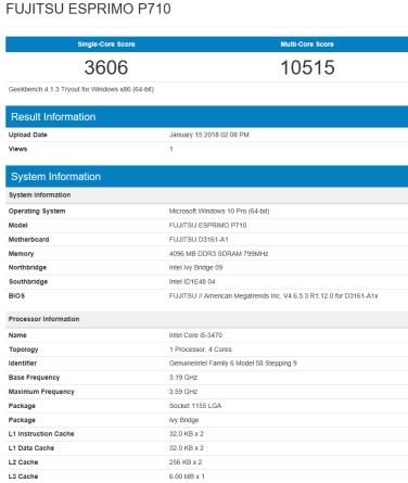 Fujitsu Esprimo P710 - GeekBench CPU