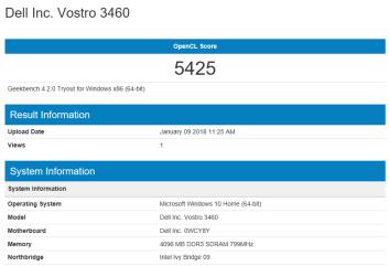 Dell Vostro 3460 - Open CL Intel