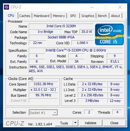 HP EliteBook 2570p - CPU-z