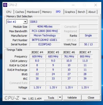 HP EliteBook 2570p - CPU-z RAM