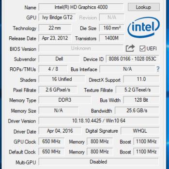 Dell Latitude E5430 - GPU-Z