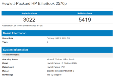 HP EliteBook 2570p - GeekBench CPU