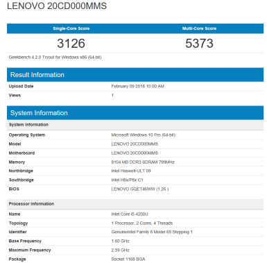 Lenovo ThinkPad S1 Yoga - Geekbench