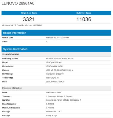 Lenovo ThinkCentre M82 - GeekBench CPU