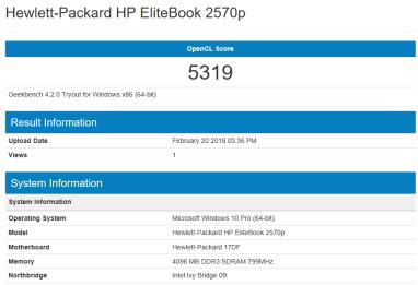 HP EliteBook 2570p - GeekBench OpenCL