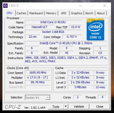 Dell Latitude 3340 - CPU-Z